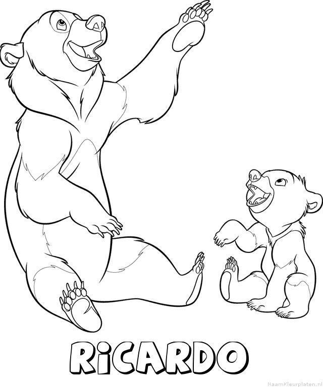 Ricardo brother bear kleurplaat