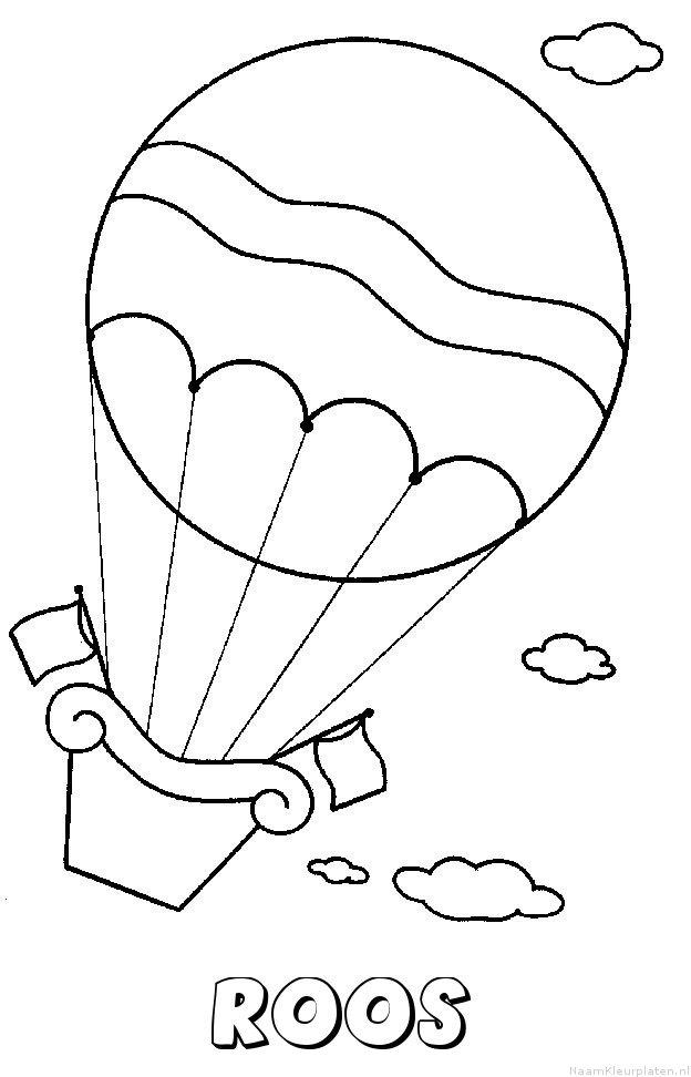 Roos luchtballon kleurplaat