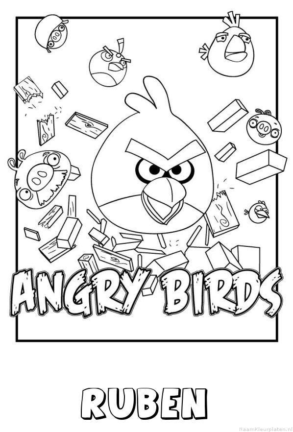 Ruben angry birds kleurplaat