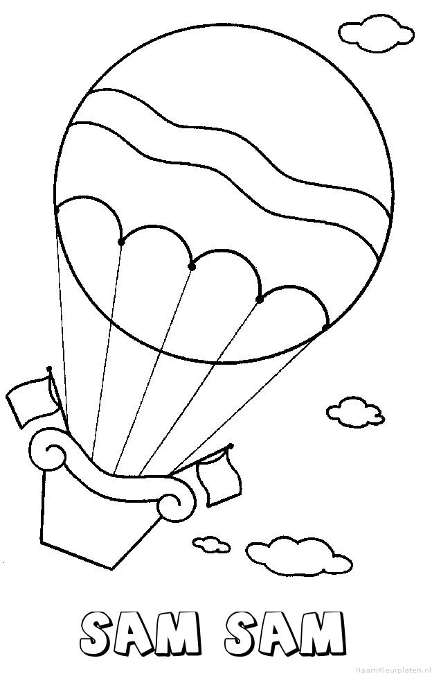 Sam sam luchtballon kleurplaat