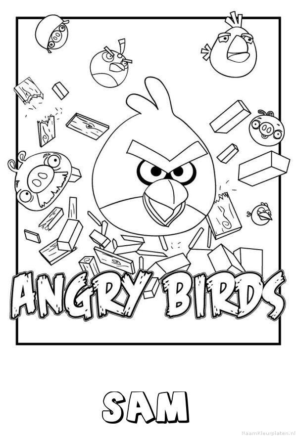 Sam angry birds kleurplaat