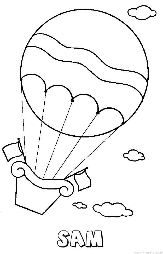 Sam luchtballon kleurplaat