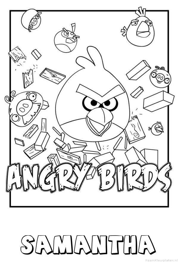Samantha angry birds kleurplaat