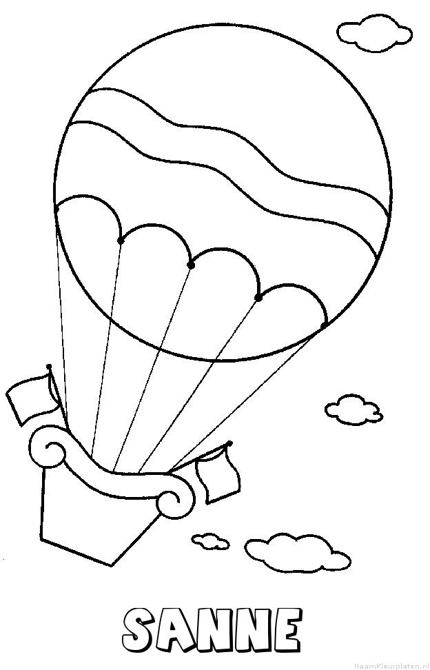 Sanne luchtballon kleurplaat
