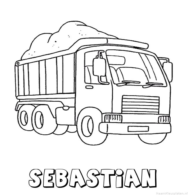 Sebastian vrachtwagen kleurplaat