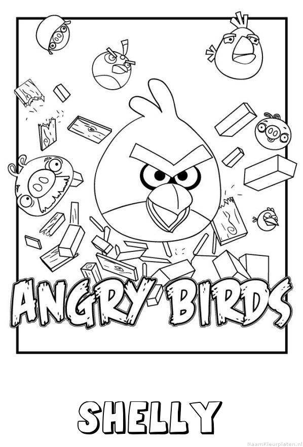 Shelly angry birds kleurplaat