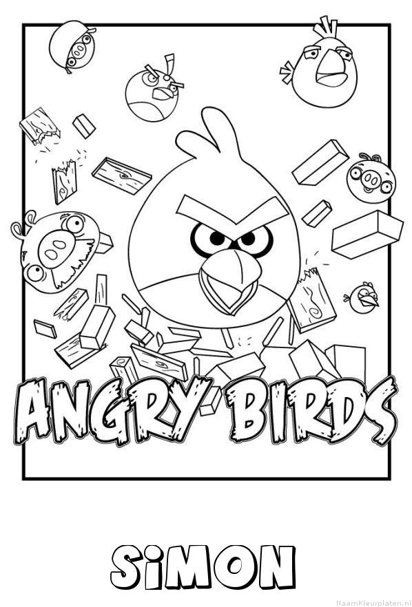 Simon angry birds kleurplaat