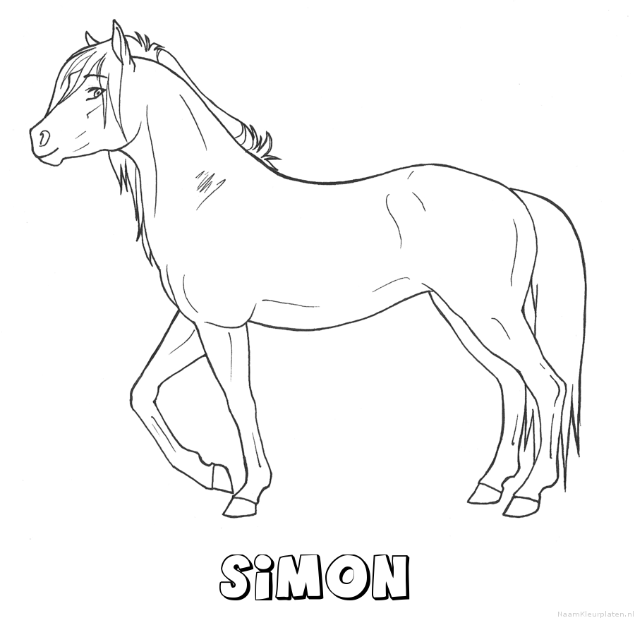 Simon paard kleurplaat