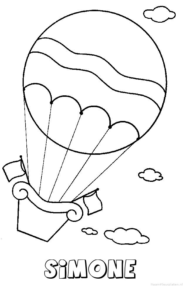 Simone luchtballon kleurplaat