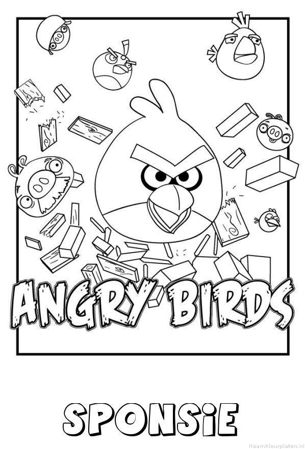 Sponsie angry birds kleurplaat