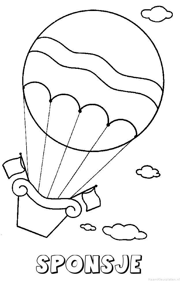 Sponsje luchtballon kleurplaat