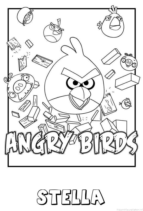 Angry Birds Stella Kleurplaten.Stella Angry Birds Naam Kleurplaat