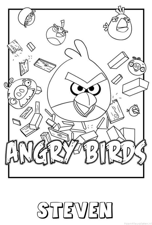 Steven angry birds kleurplaat