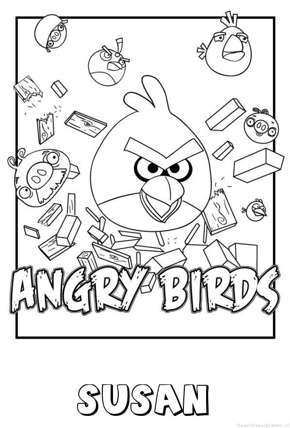 Susan angry birds kleurplaat