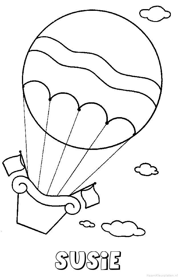 Susie luchtballon kleurplaat
