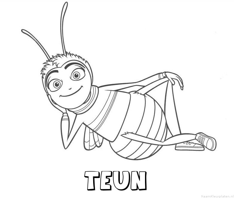 Teun bee movie kleurplaat