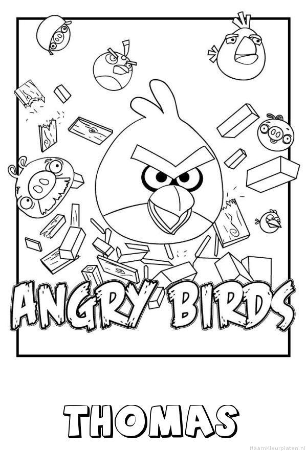 Thomas angry birds kleurplaat