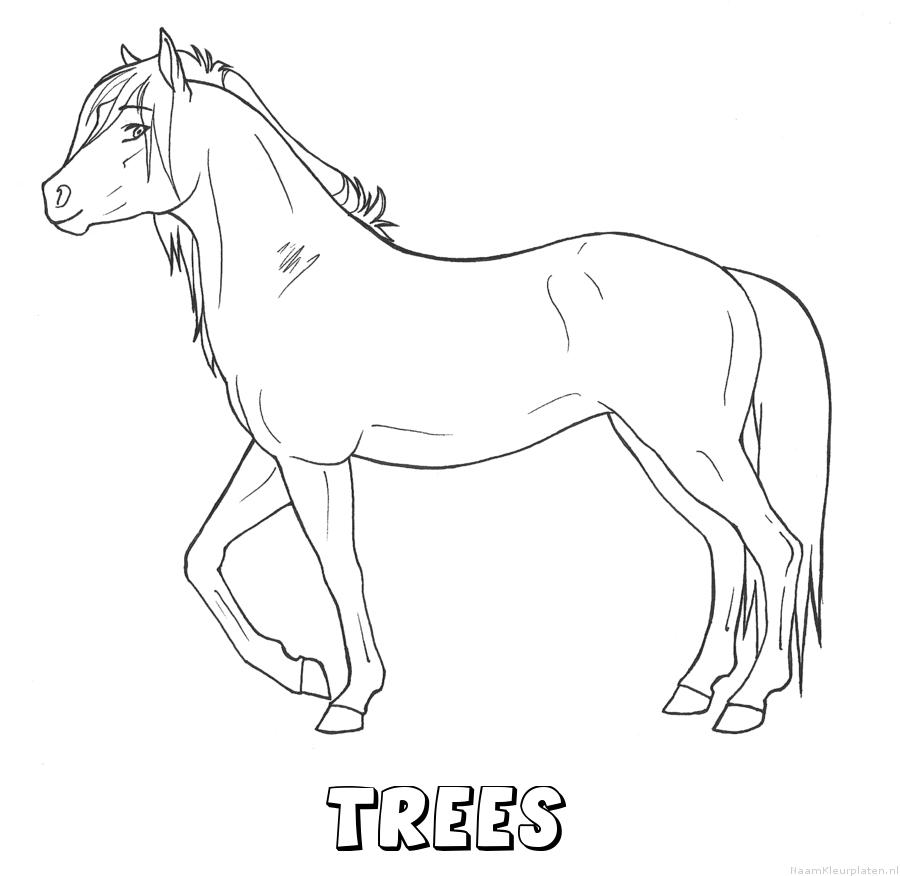 Trees paard kleurplaat