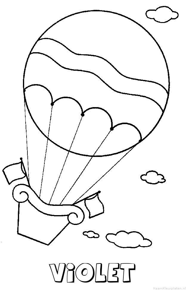 Violet luchtballon kleurplaat
