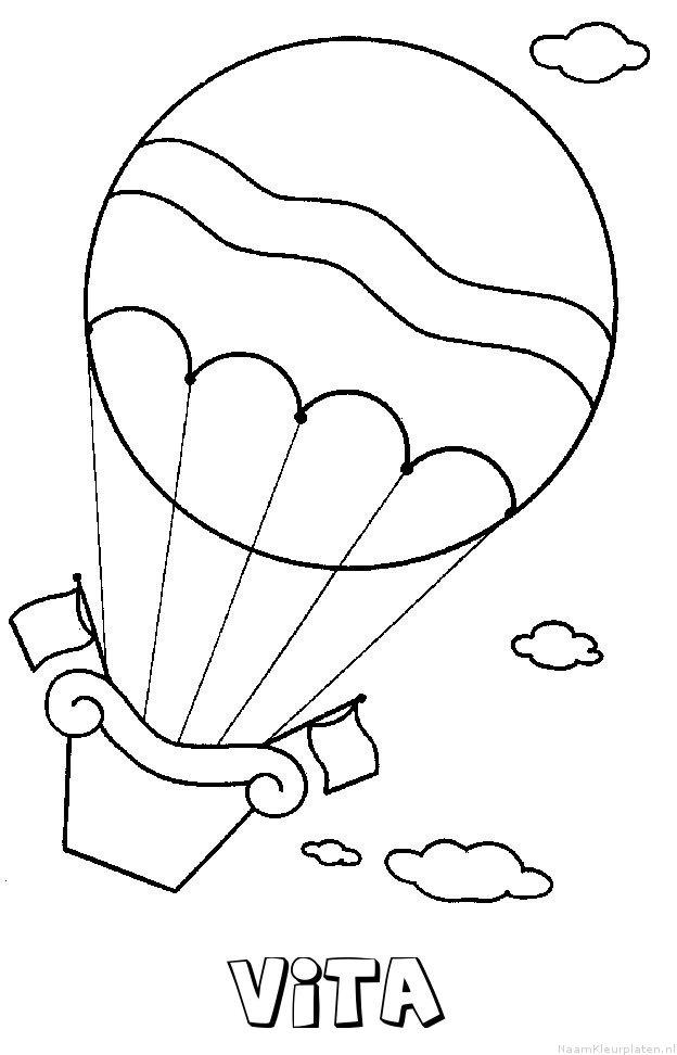 Vita luchtballon kleurplaat
