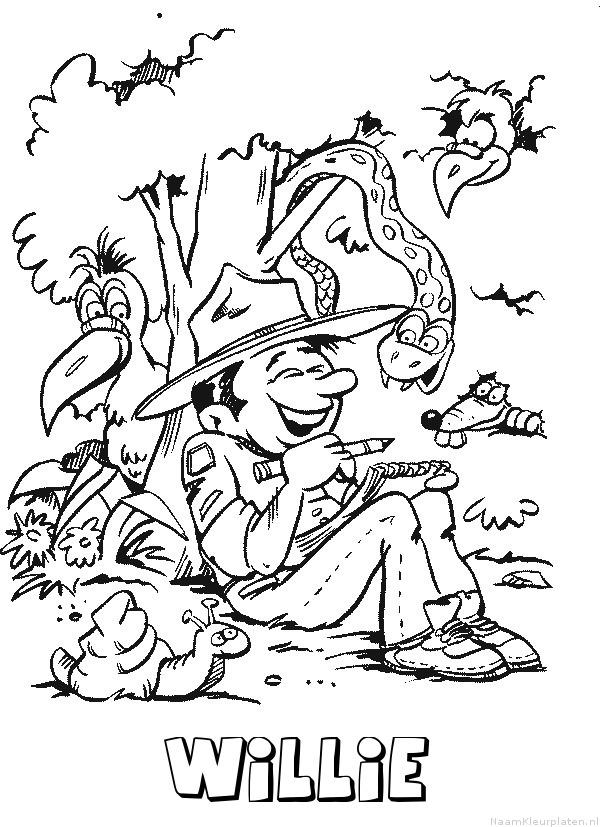 Willie scouting kleurplaat