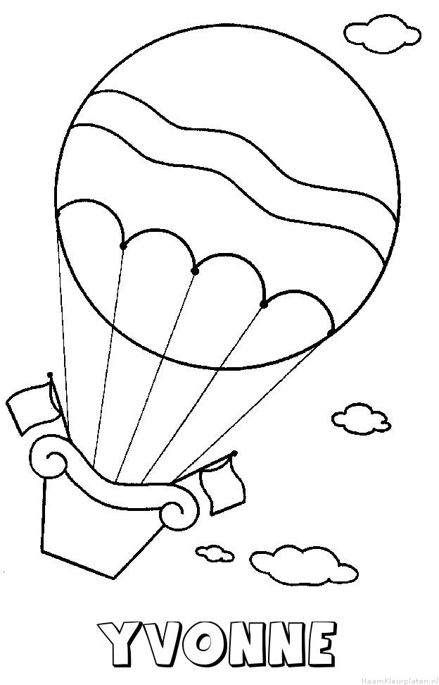 Yvonne luchtballon kleurplaat