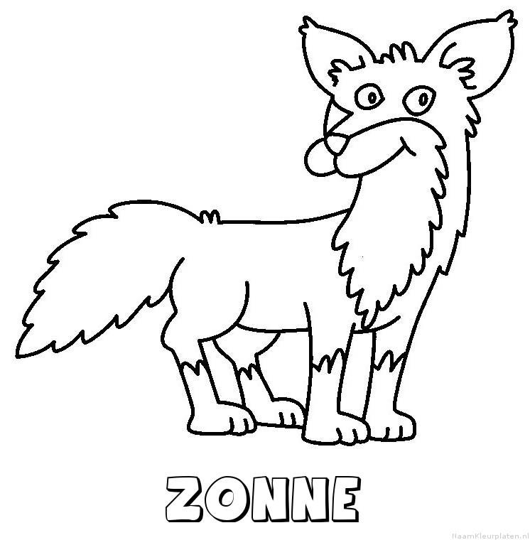 Zonne vos kleurplaat